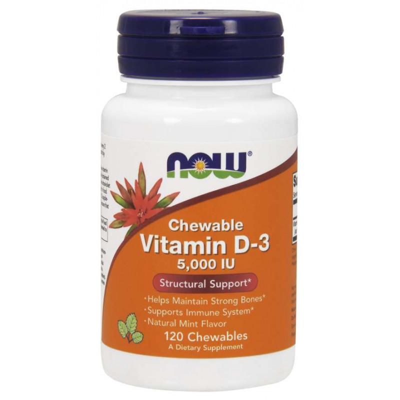 Vitamin D-3 5000 IU - 120 Дъвчащи дражета (Мента)